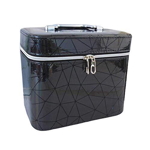 JLYLY Sac Cosmétique Femelle Portable De Grande Capacité Bagage À Main WC Stockage De Cas Cosmétique,Noir,L