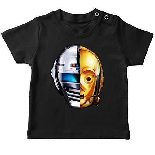 T-Shirt bébé Noir Parodie Star Wars - C-3PO, Get Lucky de Daft Punk et X-Or - Geek Lucky : (T-Shirt de qualité Premium de Taille 24 Mois - imprimé en France)