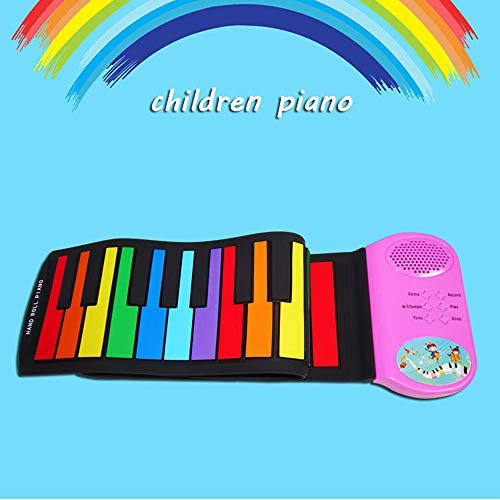 New LoMe Hand Roll Piano,49 Keys with External Sound Horn Children Entry-Level Folding Silicone Port...