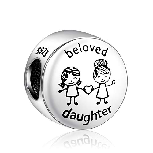 NINGAN I Love Mum & Family Charm fits Pandora Charms Bracelet 925 Sterling Silver Love Heart Charm - Mother's Day Birthday Jewelry Gift for Women