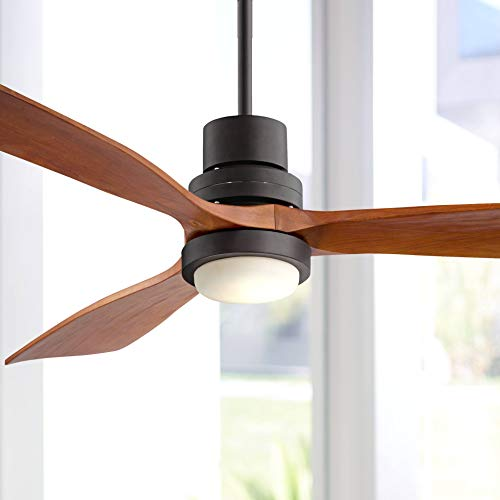 52' Casa Delta-Wing Modern Outdoor Ceiling Fan with Light Solid Wood Oil...