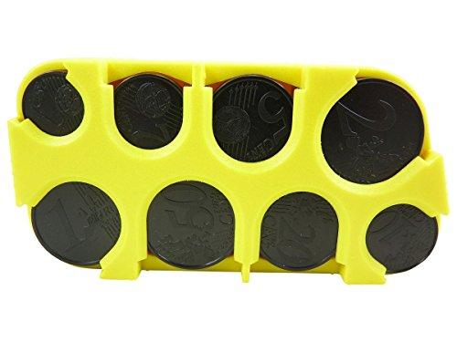 Scatola porta monete, per organizzare le monete, in plastica, Giallo (giallo), TU