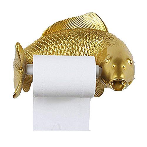Shelfhx Kreative Persönlichkeit Fisch Harz Toilettenpapierhalter Distributor Hause Wand-wasserdichte Toilette Fach Toilettenpapier Box Bad Zubehör ( Color : Gold )