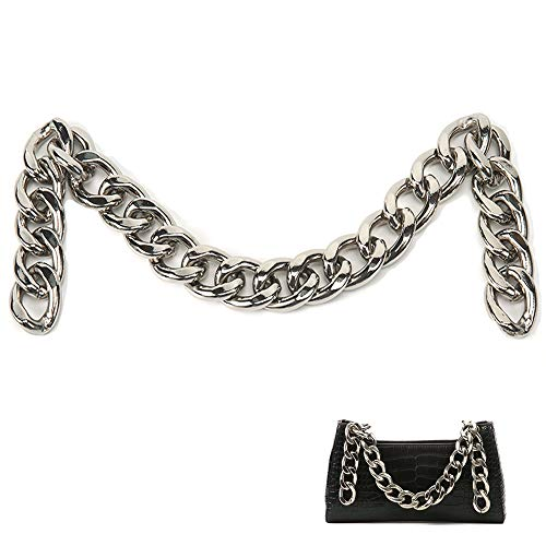Xiazw DIY Heavy Chunky Aluminum Metal Purse Handle Bag Chain Charms Strap Replacement Handbag Accessories Decoration (Silver)