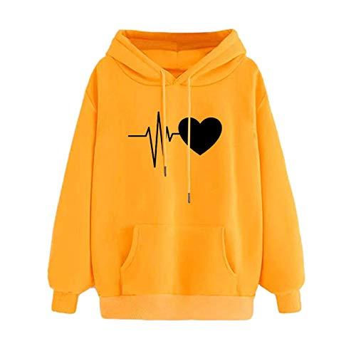 Masrin Mask Frauen Hoodie Sweatshirt Damen Herbst Winter Falling Love Print Pullover Langarm Patchwork Top mit Kordelzug und Tasche(M,Gelb-6)