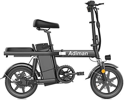 RDJM Bici electrica Bicicletas eléctricas rápida for adultos portátil eléctrica plegable Bicicletas 14 pulgadas bicicletas eléctricas, de alta velocidad de motor sin escobillas, de tres formas de cond