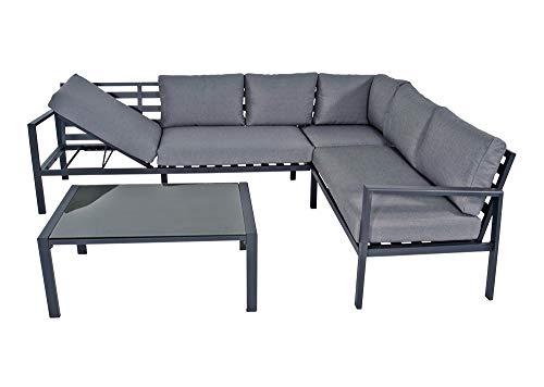 lifestyle4living Loungemöbel Set (Premium) aus Aluminium, Anthrazit, wetterfest, 2-teilig | Modernes Garten Lounge Set mit Aluminiumgestell für 4 Personen - 3