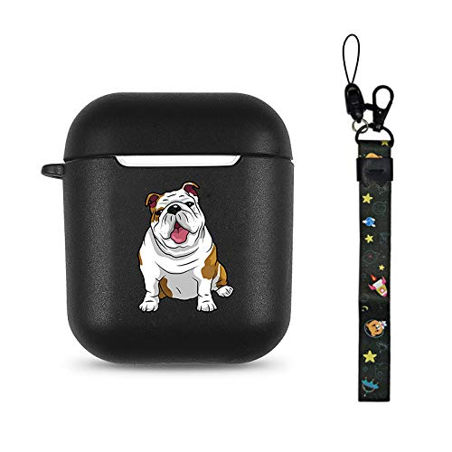 Bulldog Black Soft TPU Case Frosted Protective Cover Anti Fingerprints Compatible with AirPods 2 & 1 with Wristlet Strap