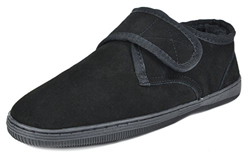 DREAM PAIRS Men's Fur-Loafer-03 Black Suede Slippers Loafers Shoes Size 9 M US