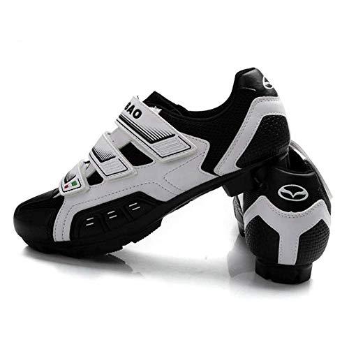 HaoLin Zapatillas De Ciclismo SPD Pedal MTB Mountain Bike Bicicleta Zapatillas De Bloqueo Zapatos De Equitación Hombres Zapatillas De Deporte Mujeres,White-39