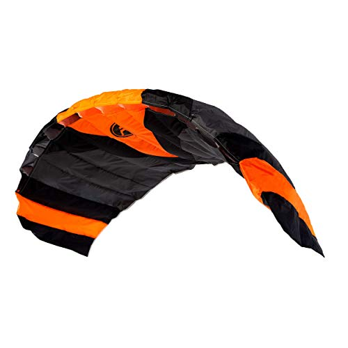 """Wolkenstürmer® Paraflex Trainer 3-Leiner Lenkmatte 2.3 schwarz/orange - """"Ready to Fly"""" Kite Drachen inkl. Trainerbar - Trainer Kite - Windtrainer zum Mountainboard Fahren"""