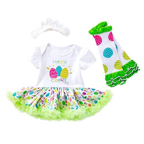 mama stadt Neugeborene Ostern Baby Kleidung Set My First Easter Osterhase Prinzessin Outfits Kurzarm Strampler Tutu Kleid Stirnband Beinwärmer Schuhe Kostüm 3 tlg/73 (6-12M)