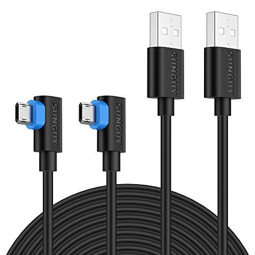 SUNGUY Cable Micro USB [3M 2Pack] Ángulo 90 Grados Reversible Carga Rápida...