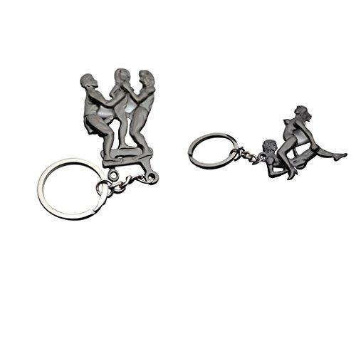 Baoblaze 2 Stück Sexy Schlüsselbund für Erwachsene Thema Sex-Stellungen Spiel Charme Schlüsselanhänger