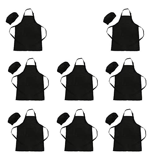 LOYHUANG Toal 16 Pieces Kids Children Black Aprons Chef Hat Kids Chef Kitchen Adjustable Bib Aprons with 2 Pockets for Girls Boys Painting Cooking Baking WearBlack8sets