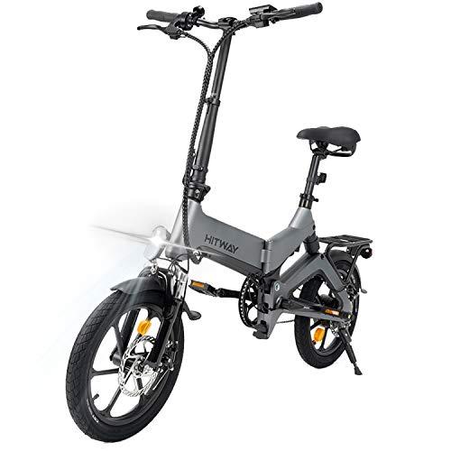 HITWAY-Elektrofahrräder, 16-Zoll-Faltrad aus Magnesiumlegierung, LED-Vorderlicht, herausnehmbare Lithiumbatterie mit 250 W, 7,5 Ah / 36 V, Doppel-Ddisc-Bremsen vorne und hinten E-Bike E-Fahrrad