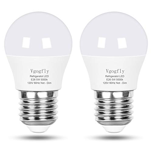 LED Refrigerator Light Bulb 40W Equivalent 120V A15 Fridge Waterproof Bulbs 5 W Daylight White 5000K E26 Medium Base Freezer Ceiling Home Lighting Lamp Non-dimmable(2 Pack)