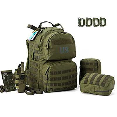 US Military Surplus Molle II Medium Rucksack with 2x Sustainment Pouch, Army Tactical Backpack YKK Zipper and UTX Buckle Olive Drab