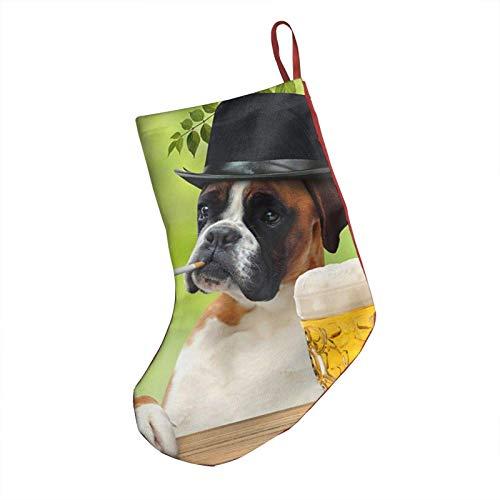 Lawenp Medias navideñas de 18 pulgadas para fumar, bebida para perros, cerveza, verde, Papá Noel, chimenea, calcetines colgantes para vacaciones familiares, fiesta de Navidad