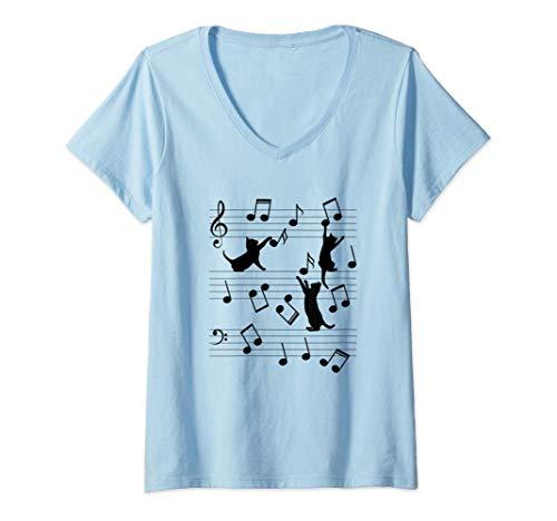 Mujer Gatos divertidos jugando con nota musical - Regalo para Camiseta Cuello V