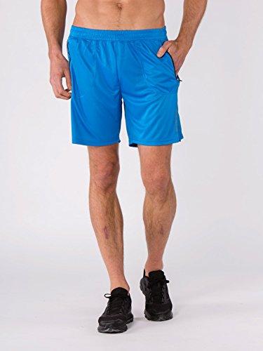 BODYCROSS Short de Course Homme Macéo Bleu Running, Training - Polyester - Respirant, Léger, 2 Poches Latérales Plaquées A Zip.