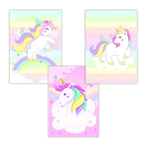 WIETRE® Juego de 3 imágenes de unicornio para habitación de bebé, decoración | imagen de niña rosa póster DIN A4 | Unicorn unicornios regalo animales póster niñas | decoración arco iris – sin