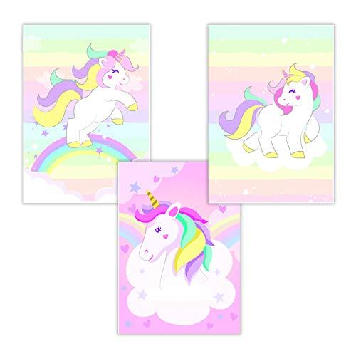 WIETRE® Juego de 3 figuras de unicornio para habitación de bebé, decoración para niñas, póster DIN A4, unicornio, regalo de animales, póster para niñas, decoración de arco iris, sin marco