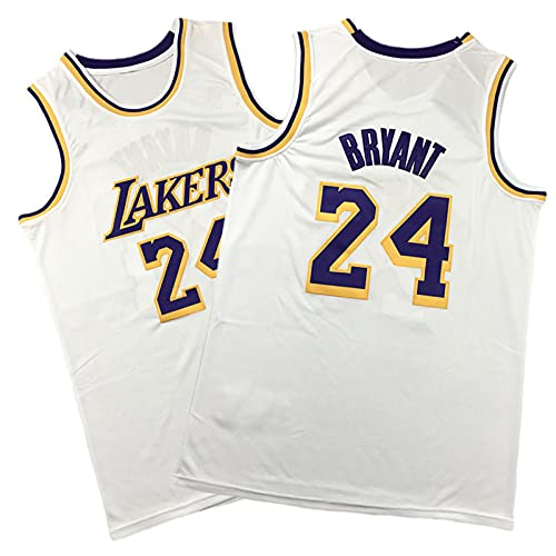 Kobe # 24 weißes Gedenktrikot, Retro-Fan-Basketball-Uniform, Komfortables und atmungsaktives ärmelloses T-Shirt (S-XXL) Unisex White-XXL