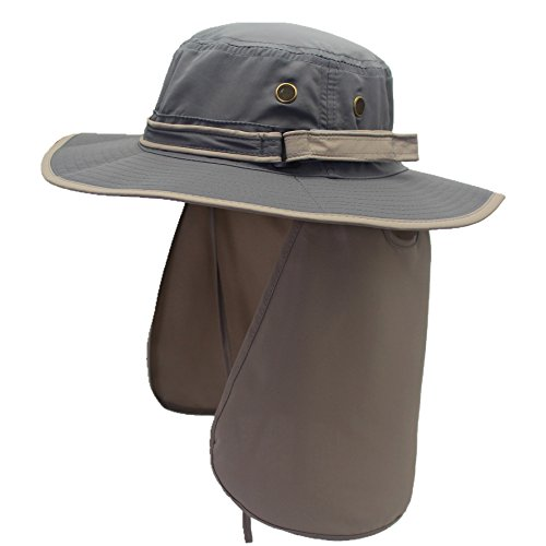 Decentron Unisex Quick Drying UV Protection Outdoor Sun Hat with Flap Neck Cover, One Size fits most, Dark Grey