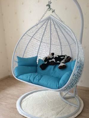 N /A coussin de chaise, coussin suspendu bleu oiseau nid coussin simple double berceau osier chaise hamac changement tissu couverture canapé suspension chaise berceau coussin, 7