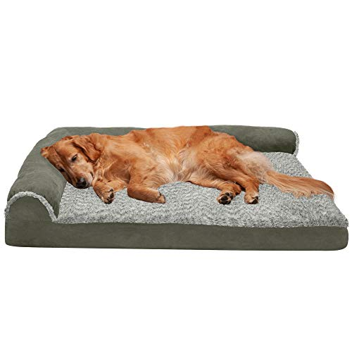 Furhaven Orthopedic Pet Bed for Dogs and Cats - L Chaise Sofa Two-Tone Plush Fur and Suede Couch Dog Bed with Removable Washable Cover, Dark Sage, Jumbo (X-Large)