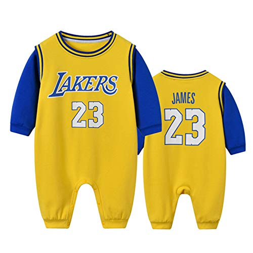 DHRBK Baby Boy Pagliaccetto Onesies Manica Lunga NBA Lebron James 23 Abiti Invernali Caldi Ragazzi Ragazze Tuta Tuta per 0-24 Mesi