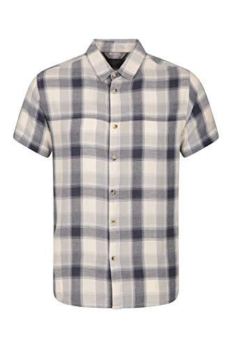Mountain Warehouse Weekender Kurzarmhemd für Herren - Sommerhemd aus 100% Baumwolle, Freizeithemd, atmungsaktiv Kariertes Hemd, bequemes Oberteil Kurzarm-Shirt Beige S