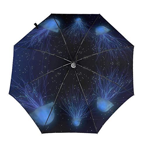 Parasol de Tres Pliegues automático de Medusas Mundo Submarino Espacio Abstracto sombrilla sombrilla