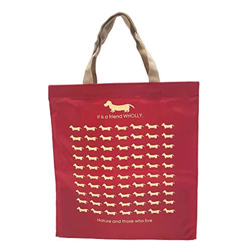 優美社 トートバッグ エコバッグ 角型 マチ付き 犬柄 レッド 約縦36×横33×マチ12cm WHOLLY コンパクト 折りたたみ 買い物袋 3L13-01