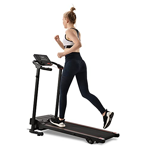 Cinta de correr para fitness, plegable, dispositivo de fitness, correr, entrenamiento en casa, con indicador LED, 1-12 km/h, 12 programas, soporte para almohada/teléfono móvil, plegable