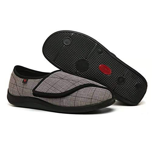 B/H Zapatillas diabéticas Vendaje Zapatos,Zapatos de enfermería de Primavera y otoño,Ajustables,gordos y Anchos,Zapatos de Velcro a Cuadros-Brown_40,Zapato Sanitario elástico cómodo