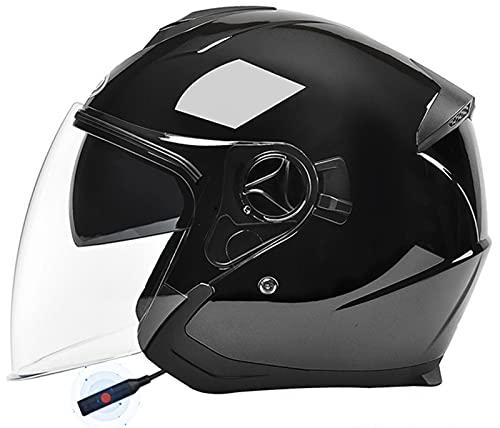 Bluetooth Casco de Moto Retro Adultos Cascos de Moto Jet Casco de Seguridad Personalidad Medio Casco de Moto Vintage,para Street Bike Cruiser Chopper Motocicleta Casco F,54-59M