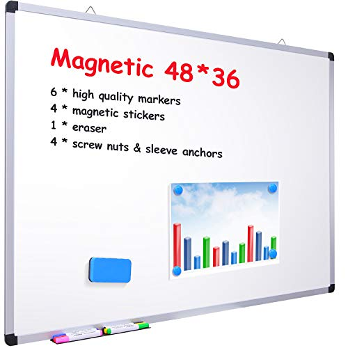 "48"" x 36"" Dry Erase Board, Ohuhu Magnetic Large Whiteboard/White Board with 6 Color Dry Erase Markers, 4 x Magnetic Stickers, 1 x Eraser, 4 x Screw Nuts & Sleeve Anchors, Aluminum Frame, Silver"