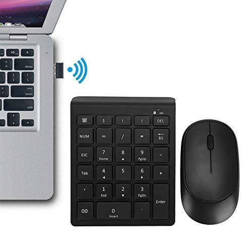 Draadloze combinatie van numerieke toetsen en muis, sleutelslot voor laptops, num-toets/caps-lock/bedieningsindicator zwart