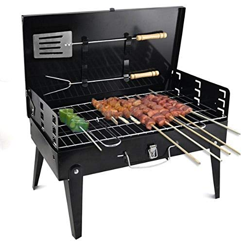 FLYNGO Foldable Briefcase Style Charcoal Barbecue and Tandoor Grill Barbeque Stand for Outdoor Picnic Camping and Traveling