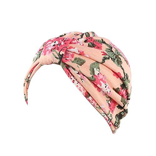 Gorro Ever Fairy turbante de algodón con estampado floral para mujer Rosa rosa Talla única
