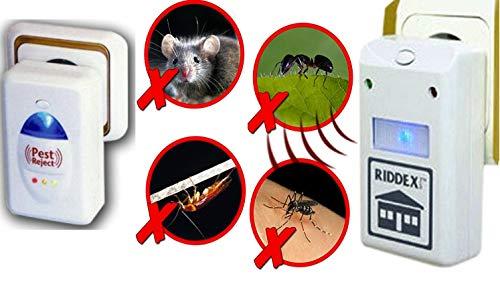 Ahuyentador Riddex electrónica repelente, ratas, ratones, hormigas, arañas, etc. También luz nocturna LED sin productos químicos nocivos seguro para los seres humanos y animales más grandes–genera un campo eléctrico que ataca el sistema nervioso de pequeños insectos y roedores y por lo tanto asusta ellos Away 220V/50hz ideal cuando los niños están en la casa como sin químicos. MWS