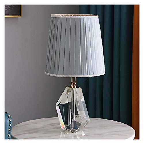 NYKK Lámpara Mesa Moderna lámpara de Cristal Transparente Tabla geométrica Irregular Corte Cristal Gris Azul Plisado Tela de la Cortina de Noche lámpara de Mesa, Altura 18.9' lámpara Mesilla