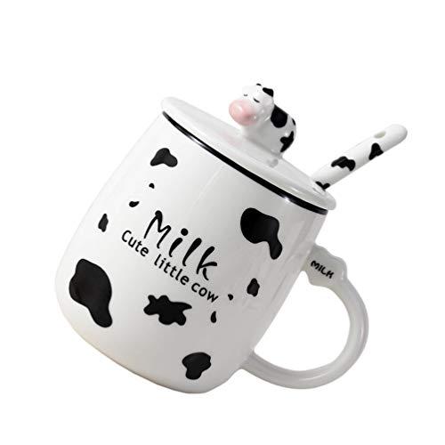 Gadpiparty Taza de Cerámica de Leche de Vaca con Cuchara Y Tapa Taza de Café de Animales de Dibujos Animados Taza de Leche Decoración del Hogar 400Ml