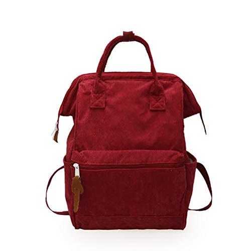 Knowooh Cord Rucksack Damen Herren Studenten Daypack Einfacher und Leichter Tagesrucksack Größere Kapazität Casual Reiserucksack Rucksack(rot)