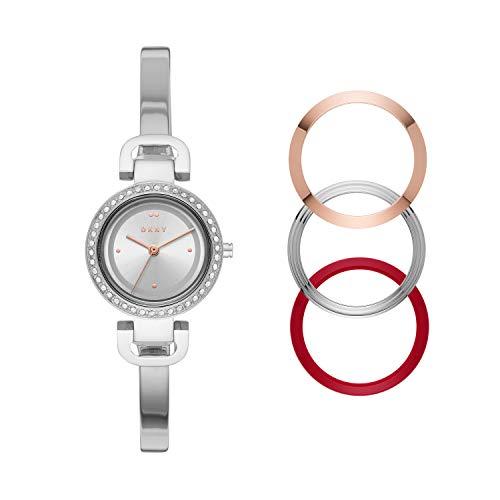 Dkny Ny2861 Set De Reloj Dkny Dama, Extensible Acero Plata, Caratula Plata, Analogo For Accesorios, Plata, Mujer Estándar
