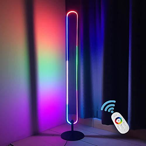 GDFGTH Moderna LED Lámpara de Pie RGB Regulable LED Esquina Lámpara de Pie con Control Remoto Regulable Lámpara de Lectura de pie Nórdica Minimalista Que Cambia de Color,Blanco