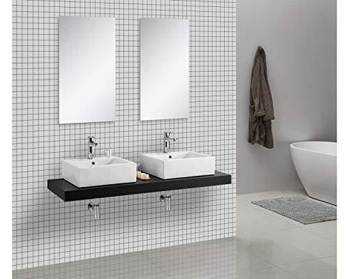 Waschtischkonsole OCEAN 150 x 50 cm Echtholz schwarz, Badezimmer Badmöbel Waschbecken Bad Waschtisch Echtholz