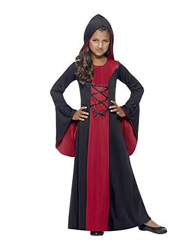 Smiffys Costume vamp, Rougeet Noir, avec robeet capuche, détail dentelle